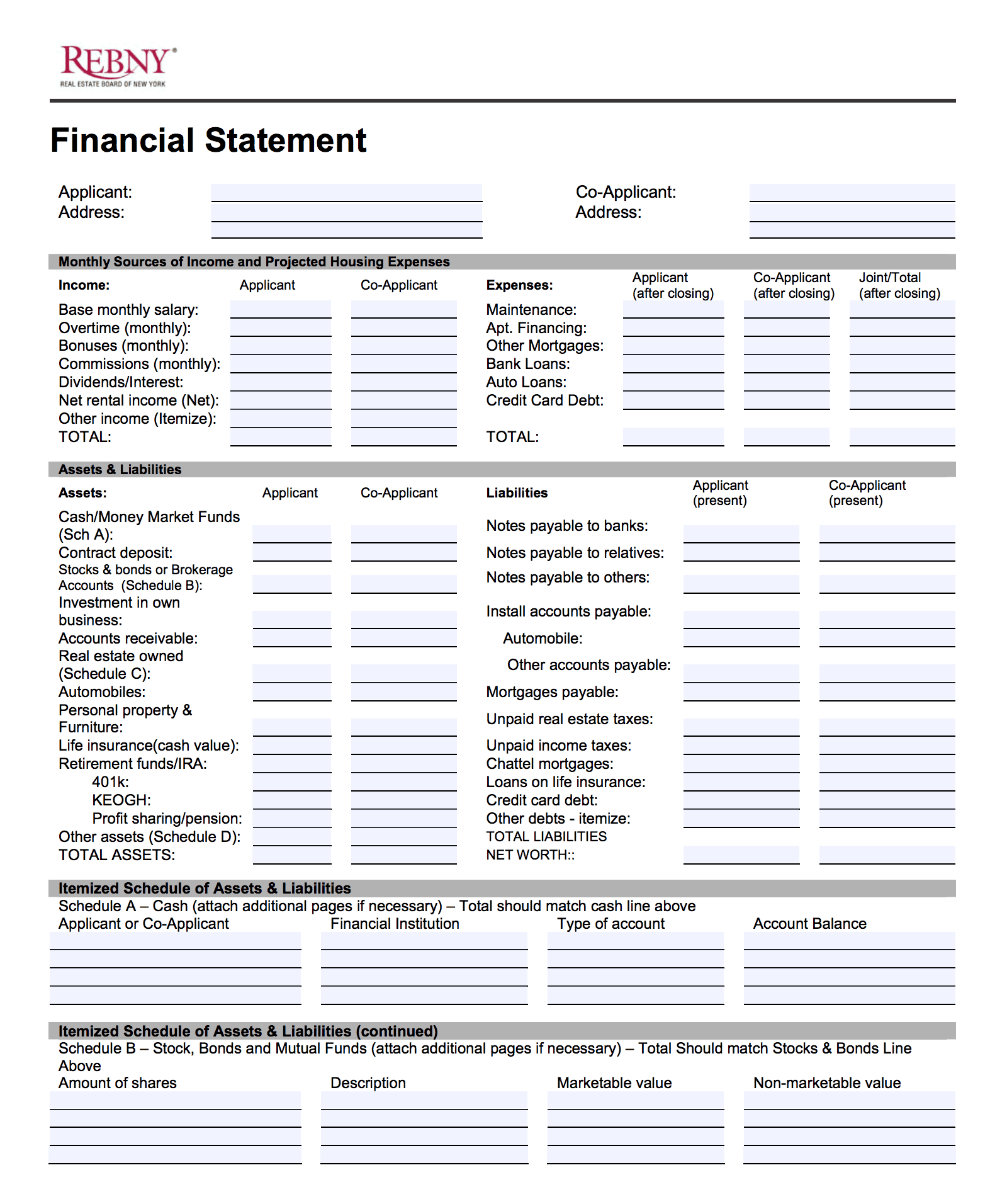 rebny financial statement instructions elika real estate