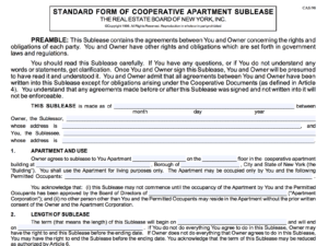 Subletting a Co-op Apartment in New York City