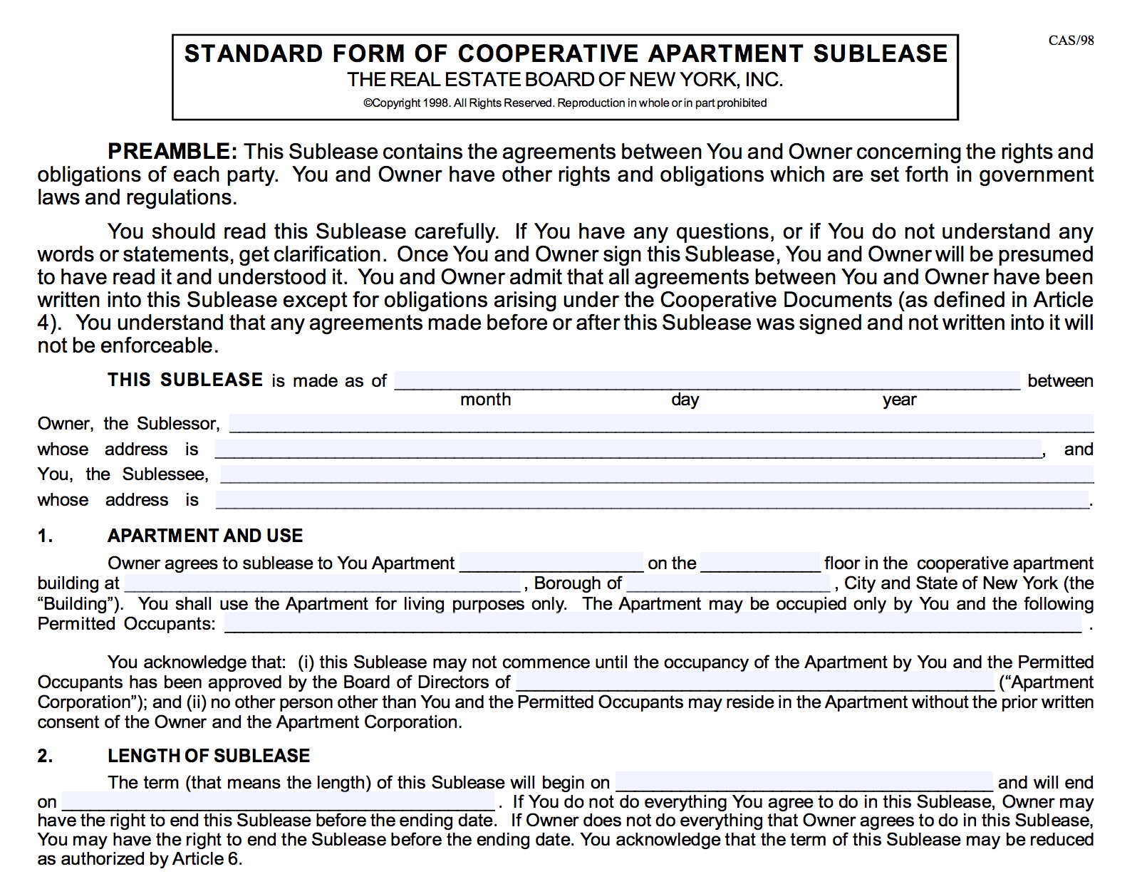 NYC Co-op Sublet Policy and Sublease Agreement