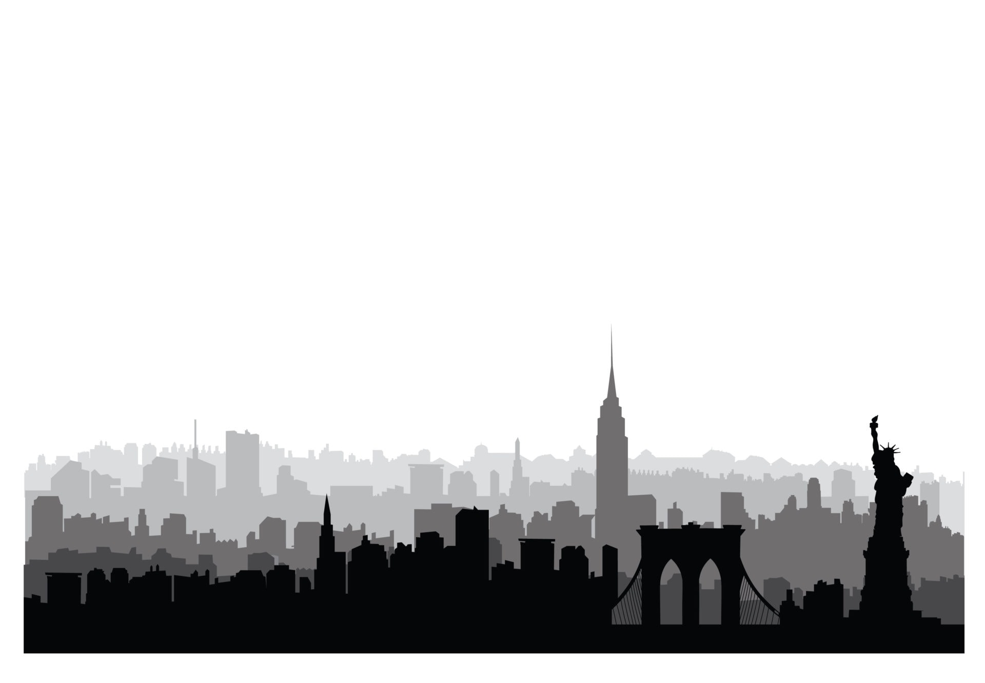 New York City Buildings Silhouette American Urban Landscape New York Cityscape With Landmarks Travel Usa Skyline Background