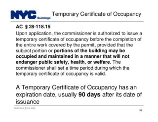 Certificate of Occupancy and Temporary