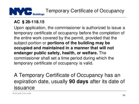 New York Temporary Certificate Of Occupancy