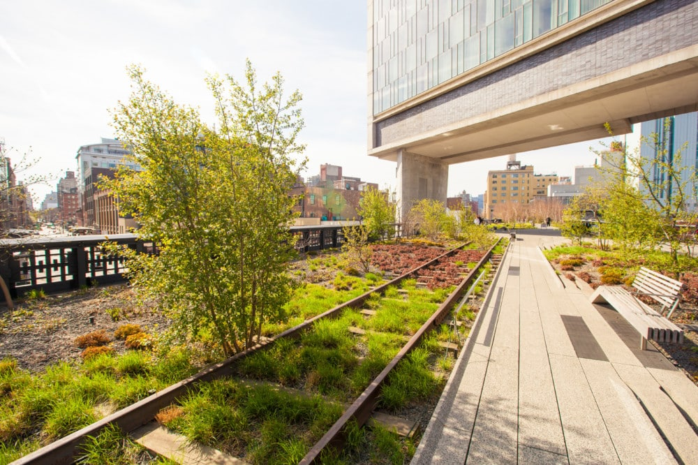 The High Line is a popular linear park built on the elevated train tracks